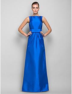 저녁 정장파티/밀리터리 볼 드레스 - 오션 블루 시스/컬럼 바닥 길이 바토 태피터 플러스 사이즈