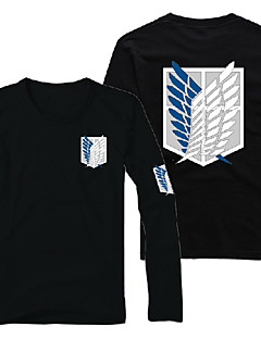 Inspired by Attack on Titan Eren Jager Anime Cosplay Costumes Cosplay Hoodies Print Black Long Sleeve T-shirt