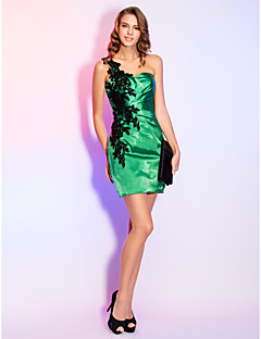 Cocktail Party/Holiday Dress - Jade Sheath/Column One Shoulder Short/Mini Satin