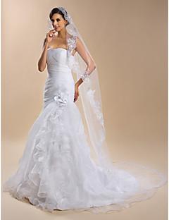 Свадебные вуали Один слой Соборная фата Кружевная кромка Органза Белый
