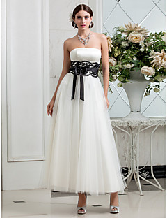 A-line Plus Sizes Wedding Dress - Ivory Ankle-length Strapless Satin/Tulle