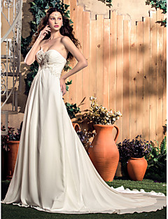 웨딩 드레스 - 아이보리(색상은 모니터에 따라 다를 수 있음) A 라인 쿼트 트레인 스윗하트 쉬폰 플러스 사이즈
