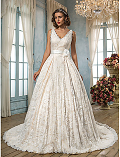 Lanting A-line Plus Sizes Wedding Dress - Ivory Court Train V-neck Lace