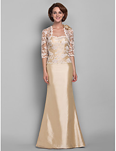 Lanting Trumpet/Mermaid Plus Sizes / Petite Mother of the Bride Dress - Champagne Floor-length Half Sleeve Lace / Taffeta