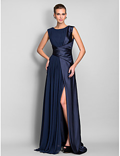 TS Couture® Formal Evening / Military Ball Dress - Open Back Plus Size / Petite Sheath / Column Jewel Sweep / Brush Train Chiffon / Stretch Satin with