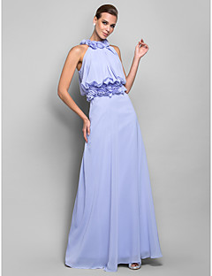 Formal Evening/Military Ball Dress - Lavender Plus Sizes Sheath/Column High Neck Floor-length Chiffon
