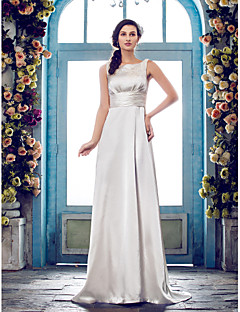 Lanting Bride® Sheath / Column Petite / Plus Sizes Wedding Dress - Classic & Timeless / Glamorous & Dramatic Sweep / Brush Train Scoop