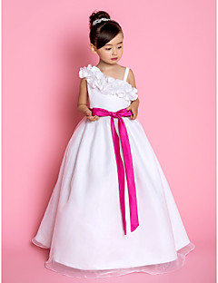 LAN TING BRIDE A-line Princess Floor-length Flower Girl Dress - Organza Straps with Bow(s) Flower(s) Sash / Ribbon