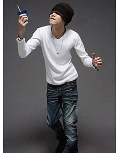 MSUIT Männer Langarmshirt mit V-Ausschnitt Pure Color White Shirt