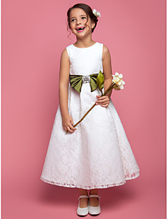 A-line / Princess Ankle-length Flower Girl Dress - Lace Sleeveless Scoop with Bow(s) / Crystal Detailing / Sash / Ribbon