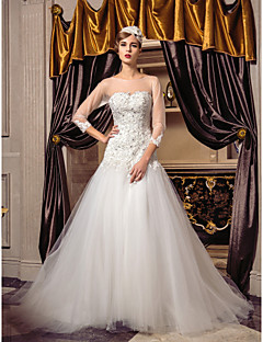 Fit & Flare Plus Sizes Wedding Dress - Ivory Sweep/Brush Train Scoop Tulle