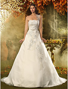 A-line/Princess Wedding Dress - Ivory Court Train One Shoulder Lace/Satin/Tulle