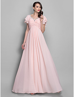 Formal Evening/Prom/Military Ball Dress - Pearl Pink Plus Sizes A-line/Princess V-neck Floor-length Chiffon