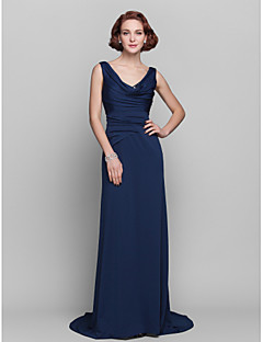 Sheath / Column Apple Hourglass Inverted Triangle Pear Rectangle Plus Size Petite Misses Mother of the Bride Dress - Open BackSweep /
