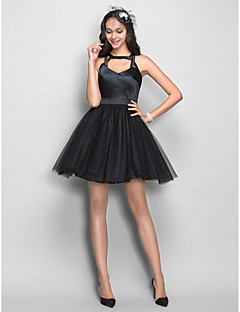 TS Couture® Cocktail Party /  Dress - Black Plus Sizes / Petite A-line Straps Short/Mini Stretch Satin / Tulle