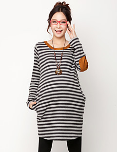Maternity Stripes Elbow Patched Blouse