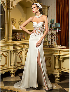 Lanting Bride Sheath/Column Petite / Plus Sizes Wedding Dress-Sweep/Brush Train Sweetheart Chiffon / Tulle