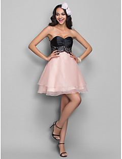 Homecoming Cocktail Party/Homecoming/Holiday Dress - Multi-color Plus Sizes A-line Sweetheart Short/Mini Organza/Stretch Satin