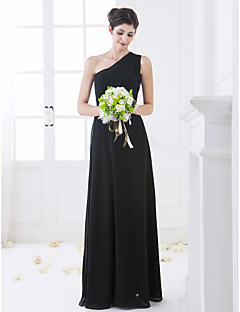 Floor-length Chiffon Bridesmaid Dress - Black Plus Sizes / Petite Sheath/Column One Shoulder
