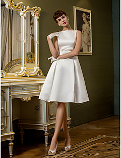 Lanting A-line Wedding Dress - Ivory Knee-length Bateau Satin