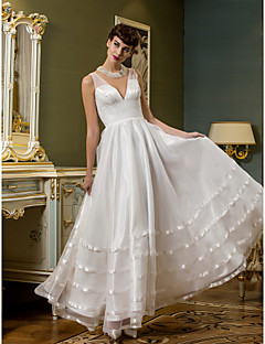 A-line Wedding Dress - Ivory Ankle-length V-neck Tulle/Organza