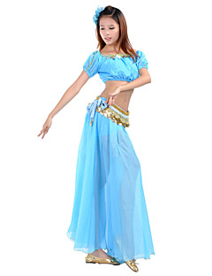 Belly Dance Outfits Women's Performance / Training Chiffon Beading / Coins / Split Front 2 Pieces Blue / Fuchsia / Royal Blue Belly Dance