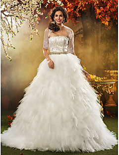 Lan Ting Ball Gown Plus Sizes Wedding Dress - Ivory Sweep/Brush Train Strapless Tulle