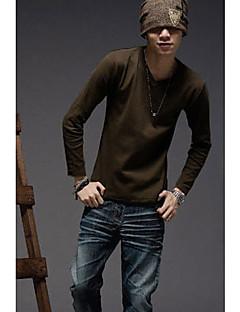 MSUIT Männer Langarmshirt mit V-Ausschnitt Pure Color Kaffee-Hemd