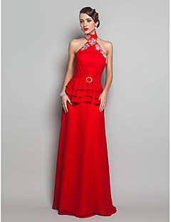 Formal Evening/Military Ball Dress - Ruby Plus Sizes Sheath/Column Halter Floor-length Chiffon