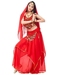Göbek Dansı Kıyafetler Kadın's Performans Şifon Boncuklama Madeni Para Kumaş Kaplanmış 4 Parça DoğalTop Etek Başlıklar Göbek Dansı Kalça