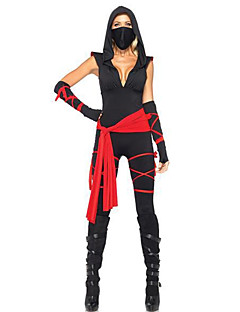 Cosplay Kostuums Feestkostuum Ninja Festival/Feestdagen Halloweenkostuums Zwart/rood Patchwork Top Broeken Handschoenen Riem Masker