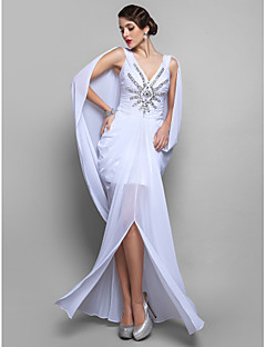 Homecoming Cocktail Party Dress - White Plus Sizes Sheath/Column V-neck Floor-length Chiffon