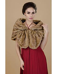 Fur Wraps Shrugs Faux Fur Chocolate / Camel Party/Evening / Casual
