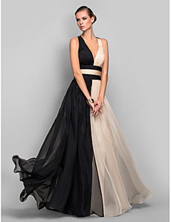 TS Couture Military Ball / Formal Evening Dress - Multi-color Plus Sizes / Petite A-line / Princess V-neck Floor-length Chiffon