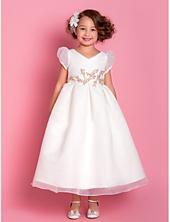 Lanting Bride ® A-line / Princess Tea-length Flower Girl Dress - Organza Short Sleeve V-neck with Appliques