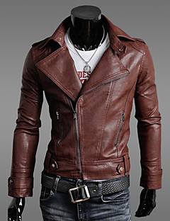 Vska Mannen Asymmetrische Zipper Korte Pu Leather Coat
