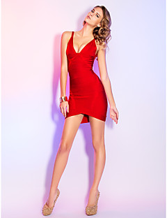 Cocktail Party/Holiday Dress - Ruby Sheath/Column V-neck Short/Mini Rayon