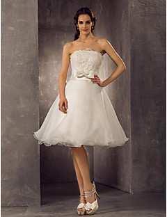 A-line/Princess Plus Sizes Wedding Dress - Ivory Knee-length Scalloped-Edge Organza/Lace