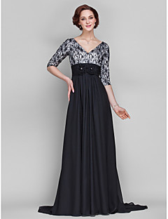 Lanting A-line Plus Sizes / Petite Mother of the Bride Dress - Black Sweep/Brush Train Half Sleeve Chiffon / Lace