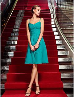 칼집 / 칼럼 스파게티 스트랩 무릎 길이 쉬폰 칵테일 파티 동창회 휴일 드레스 골판지 크로스 ruching