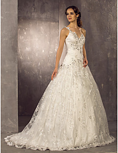 Lanting Bride® A-line Petite / Plus Sizes Wedding Dress - Classic & Timeless / Elegant & Luxurious Lacy Looks Sweep / Brush Train One