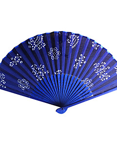 Bloemen Royal Blue Satin Hand Fan - Set van 4