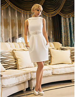Lanting Sheath/Column Petite / Plus Sizes Wedding Dress - Ivory Knee-length Jewel Satin