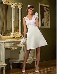 lanting 신부 시스 / 아담 열 / 플러스 웨딩 드레스 무릎 길이의 앤 여왕 레이스 / 새틴 크기