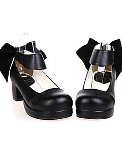 Handmade Black PU Leather 4.5cm High Heel Classic Lolita Shoes