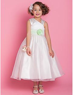 -linije princeza v-izrez čaj duljine organze i satena cvijet girl haljina (734000)