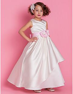 A-linje/Prinsesse Gulvlengde Blomst jente kjole - Sateng Ermeløs