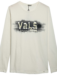 Mat zwart-Informeel-Heren-Katoen-T-shirt-Lange mouw Rood / Wit