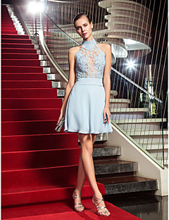 Homecoming Cocktail Party/Homecoming/Holiday Dress - Sky Blue Plus Sizes A-line High Neck Short/Mini Chiffon/Tulle