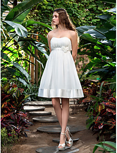 A-line Plus Sizes Wedding Dress - Ivory Knee-length Strapless Chiffon/Stretch Satin